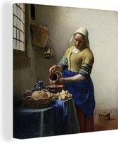 Melkmeisje - Schilderij van Johannes Vermeer Canvas 60x80 cm - Foto print op Canvas schilderij (Wanddecoratie woonkamer / slaapkamer)