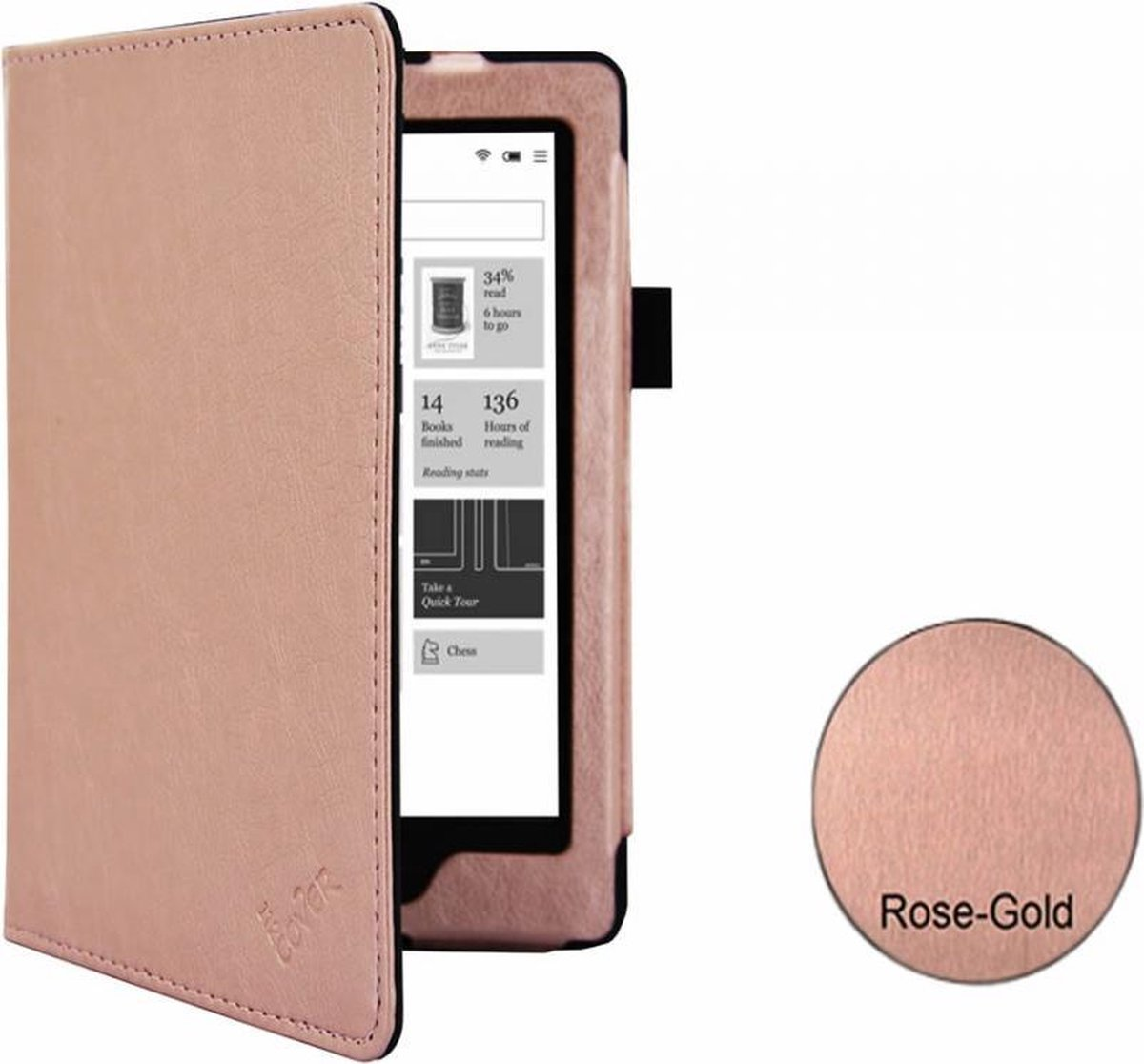 i12Cover - Premium Business Sleepcover voor Kobo Glo HD - Rose-Goud