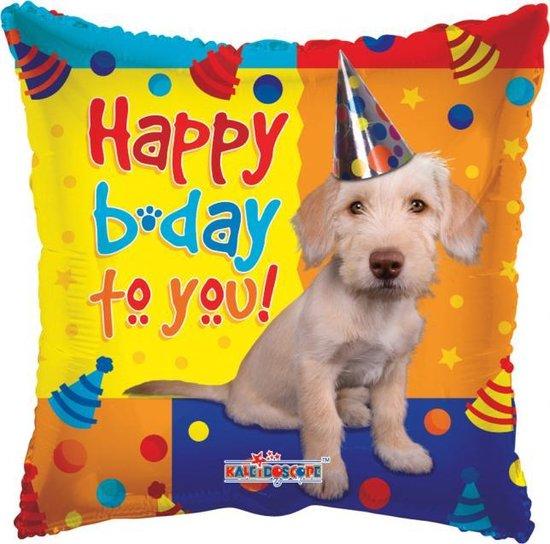 Helium Ballon Vierkant Happy Birthday Hond 45cm leeg