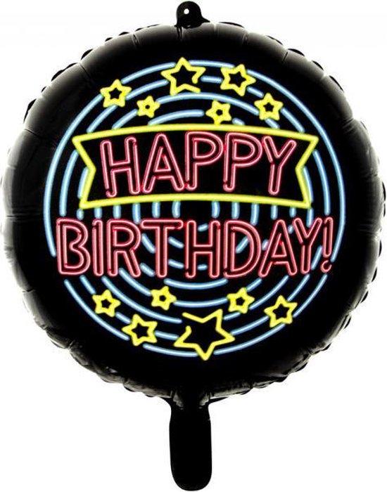 Wefiesta Folieballon Happy Birthday Neon 45 Cm Zwart