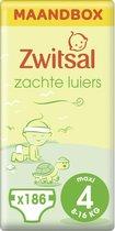 Zwitsal Luiers Maxi - Maat 4 - 186 stuks - Voordeelverpakking