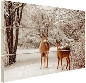 Herten in de sneeuw Hout 80x60 cm - Foto print op Hout (Wanddecoratie)