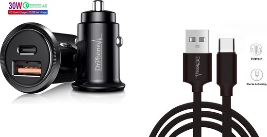 DrPhone® Invisible Pro - Autolader - 30W - USB-C met PD (power delivery) + Power USB-C Kabel 1 METER - Tablet / Smartphone