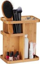 relaxdays make-up organizer draaibaar - make up standaard - cosmetica toren - bamboe