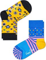 Happy Socks Kids 2-Pack Bang Bang - Geel - Maat 7-9 jaar