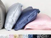 Zijden kussensloop, Oxford blauw, 60x70+5cm, Oxford-style 100% zijde, 600thread count (22momme)