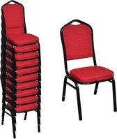 Eetkamerstoelen Rood gestoffeerd 10 STUKS Stapelbaar + Anti Kras Vilt 42st / Eetkamer stoelen / Extra stoelen voor huiskamer / Bezoekersstoelen