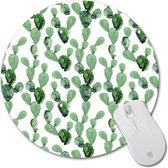 Muismat Rond Cactussen   Muismat Rubber   Mousepad 20 x 20 cm
