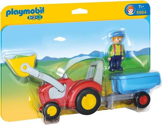 PLAYMOBIL 1.2.3 Boer met tractor en aanhangwagen - 6964