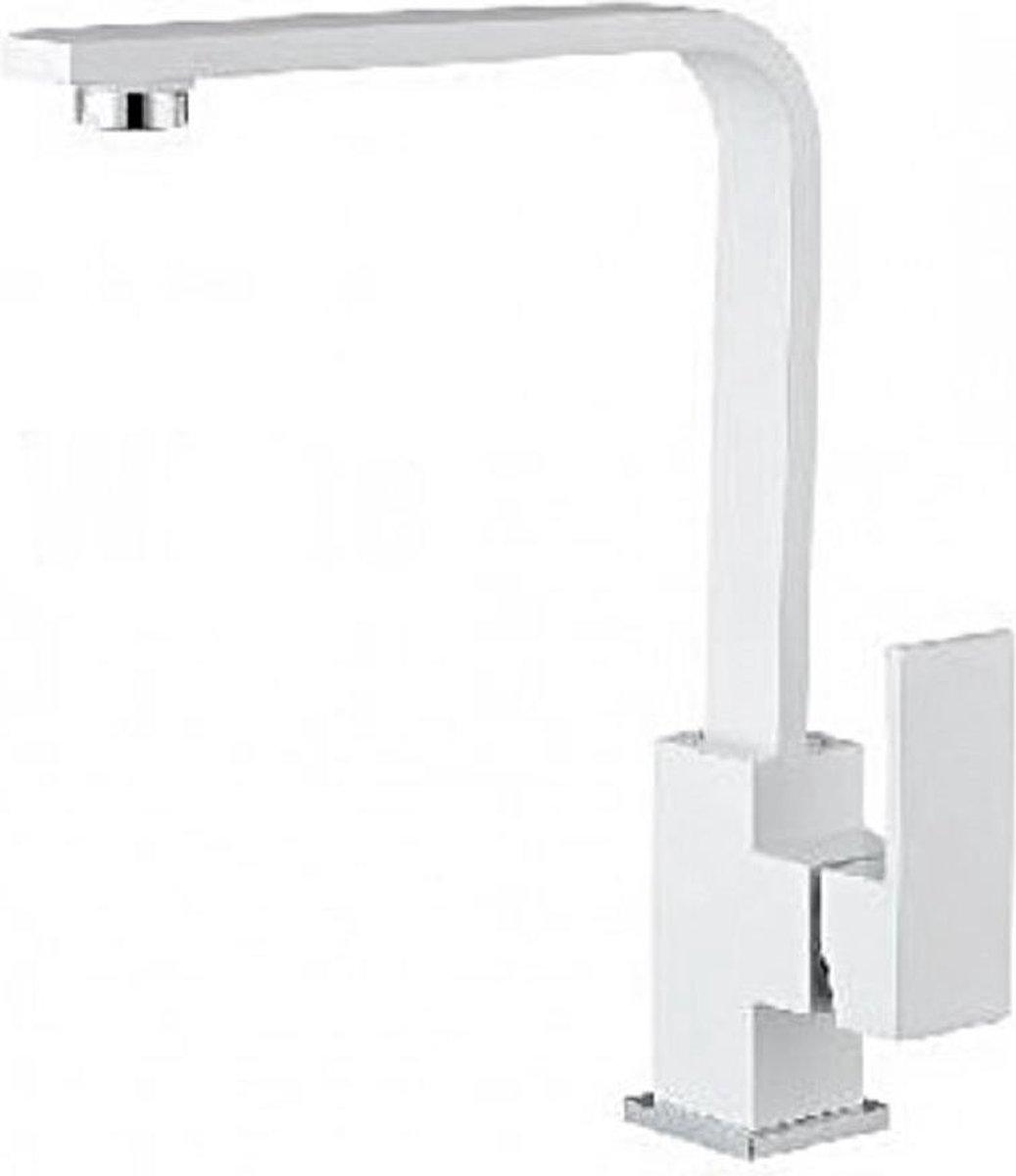 Keukenkraan WIT - Wastafelkraan - Hoge uitloop - Draaibaar - ALASKA - Modern Strakke Design