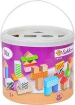 Eichorn Ton met 50 gekleurde Houten  Blokken - Constructie Blokken
