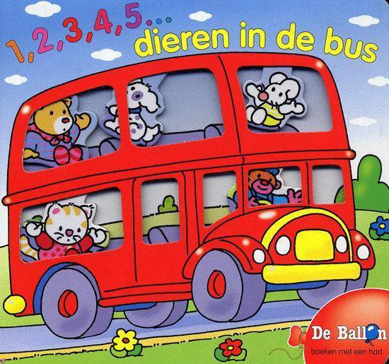 Cover van het boek '1, 2, 3, 4, 5 dieren in de bus'