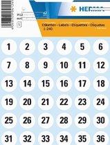 Herma 4124 Etiket met getallen 1-240 12mm Wit