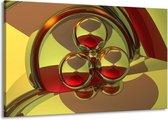 Canvas schilderij Abstract | Groen, Rood | 140x90cm 1Luik