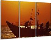 Canvas schilderij Boot   Bruin, Oranje   120x80cm 3Luik