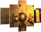 Glasschilderij Abstract | Goud, Geel, Bruin | 100x70cm 5Luik | Foto print op Glas |  F003362