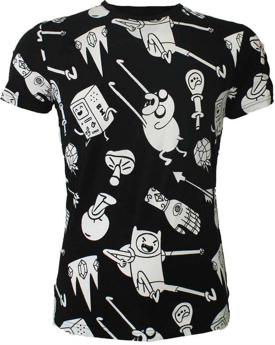 Adventure Time Characters All Over Print T-shirt Zwart/wit Heren L