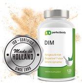 DIM-Complex met Bioperine® Voor Betere Opname > 120 DIM Capsules @ 400 Mg 4x Per Dag | DIM Met Vitamine E & Choline; Goed Voor Lever & Normale Vetstofwisseling | PerfectBody.NL