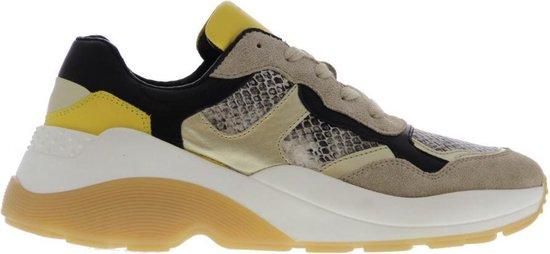 Tango | Sage 2-b beige suede/black/gold sneaker straps- white/gum sole | Maat: 39