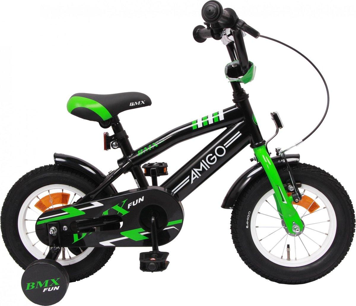 Amigo BMX Fun - Kinderfiets 12 inch - Jongens - Zwart/Groen