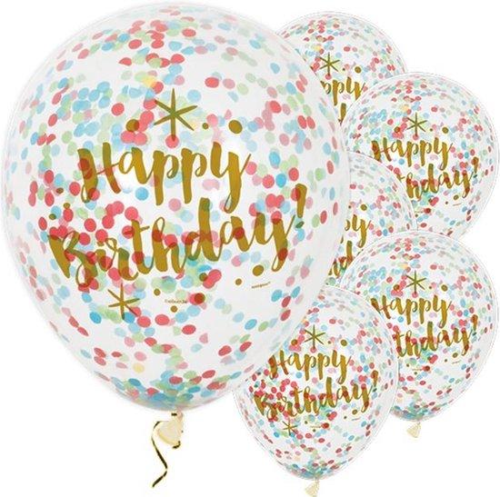 Ballonnen Confetti 'Happy Birthday' - 6 stuks