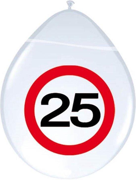 25 Jaar Verkeersbord Ballonnen - 8 stuks