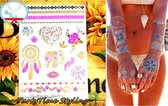 Plak Tattoos - Kleurrijke Metallic Tattoo - Body Choker - Tijdelijke Tatoeage - Festival Tatoes - Zomer feest tatoeage's - Tattoo - 1 vel Pink Gold