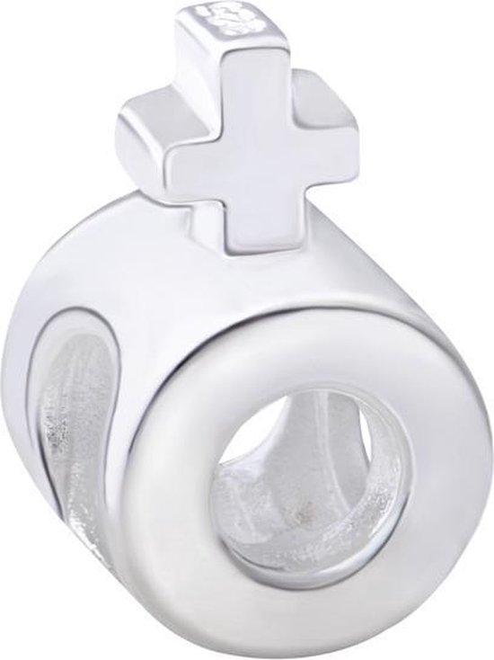 Quiges Bedel Bead - 925 Zilver - Vrouw Teken Kraal Charm - Z312