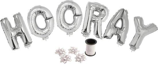 Folie ballonset zilver met letters HOORAY 41 cm + geschenklint 10m met 4 witte strikken