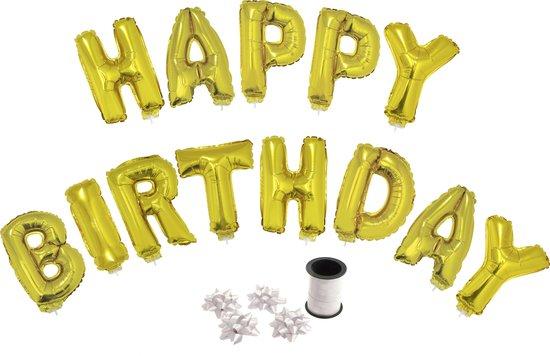 Folie ballonset goud met letters HAPPY BIRTHDAY 41 cm + geschenklint 10m met 4 witte strikken