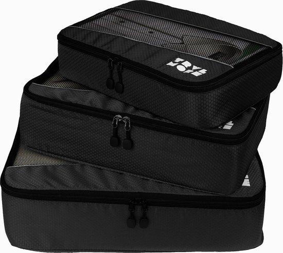 TravelMore Packing Cubes Set 3 Delig - Kleding Organizer voor Koffer en Backpack - Zwart