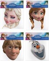 4x Disney Frozen verkleed maskers - Anna - Elsa - Olaf - Kristoff gezichtsmaskers voor themafeest/kinderfeestje