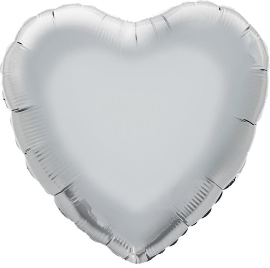 Nevti Hart valentijn folieballon Ø 45 cm - zilver - Set-1