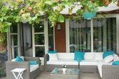 Arbrini loungeset Rondwicker grijs hoekbank met stoel en tafel incl. levering