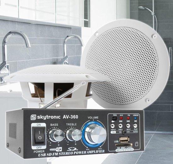 SkyTronic badkamer speakerset 5 incl. versterker en 10 meter luidsprekerkabel