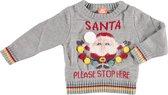 Grijze baby kersttrui/foute kersttrui Santa Please Stop Here - Foute kersttruien jongens/meisjes - Kerst trui/sweater voor baby 68/74 (6-12 mnd)