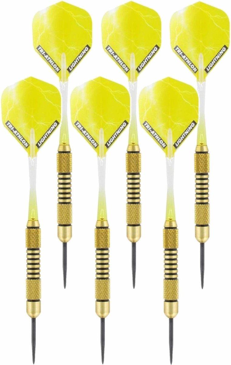 2x Set van 3 dartpijlen Speedy Yellow Brass 19 grams - Darten/darts sport artikelen pijltjes messing