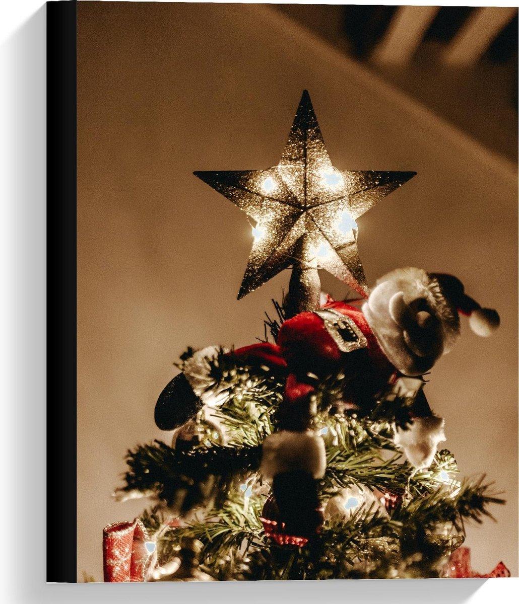 Canvas  - Kerstman op Kerstboom - 30x40cm Foto op Canvas Schilderij (Wanddecoratie op Canvas)