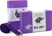 A-FTNSS Yoga Blokken Set Paars + Gratis Yoga Riem | EVA Foam | 2 Yoga Blokken (22.7x12x7.5 cm)