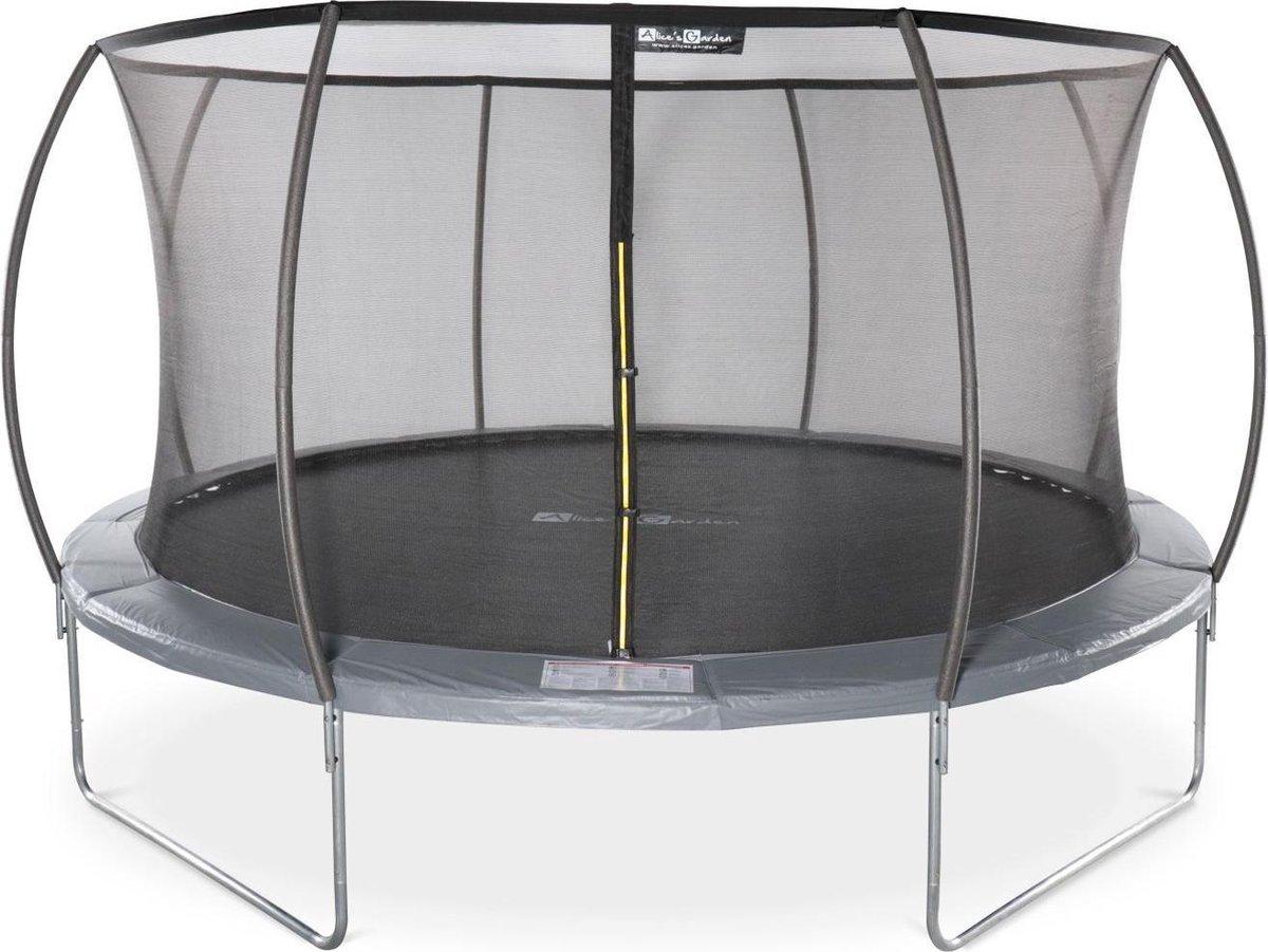 Trampoline rond Ø 430cm grijs met veiligheidsnet aan binnenzijde -Vénus Inner - Nieuw model - trampoline voor tuin 4,3m 430 cm