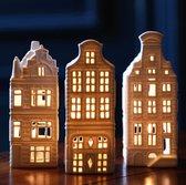 Waxinelichthouder huisje - set van 3 - &klevering - Hollandse cadeautjes - kersthuisjes - relatiegeschenk - housewarming cadeau - theelichthouder - sfeerlichtjes - Wit