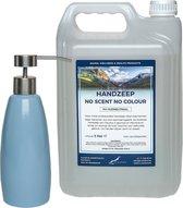 Antibacteriële Handzeep No Scent No Colour 5 liter + Zeepdispenser Blue 400 ml