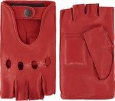 Leren autohandschoenen dames met halve vingers model Las Vegas Color: Red, Size: 7.5