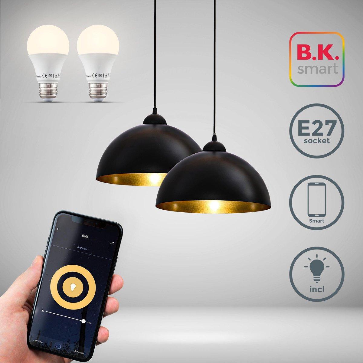 B.K.Licht - 2x Hanglampen - smart - retro - hanglamp zwart - incl. 2 x E27 smart lamp