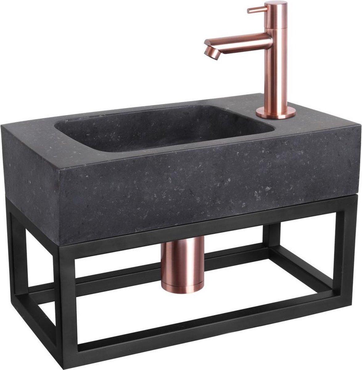 Differnz Fonteinset Bombai black - Natuursteen - Kraan recht rood koper - Met handdoekrek - 40 x 22 x 9 cm