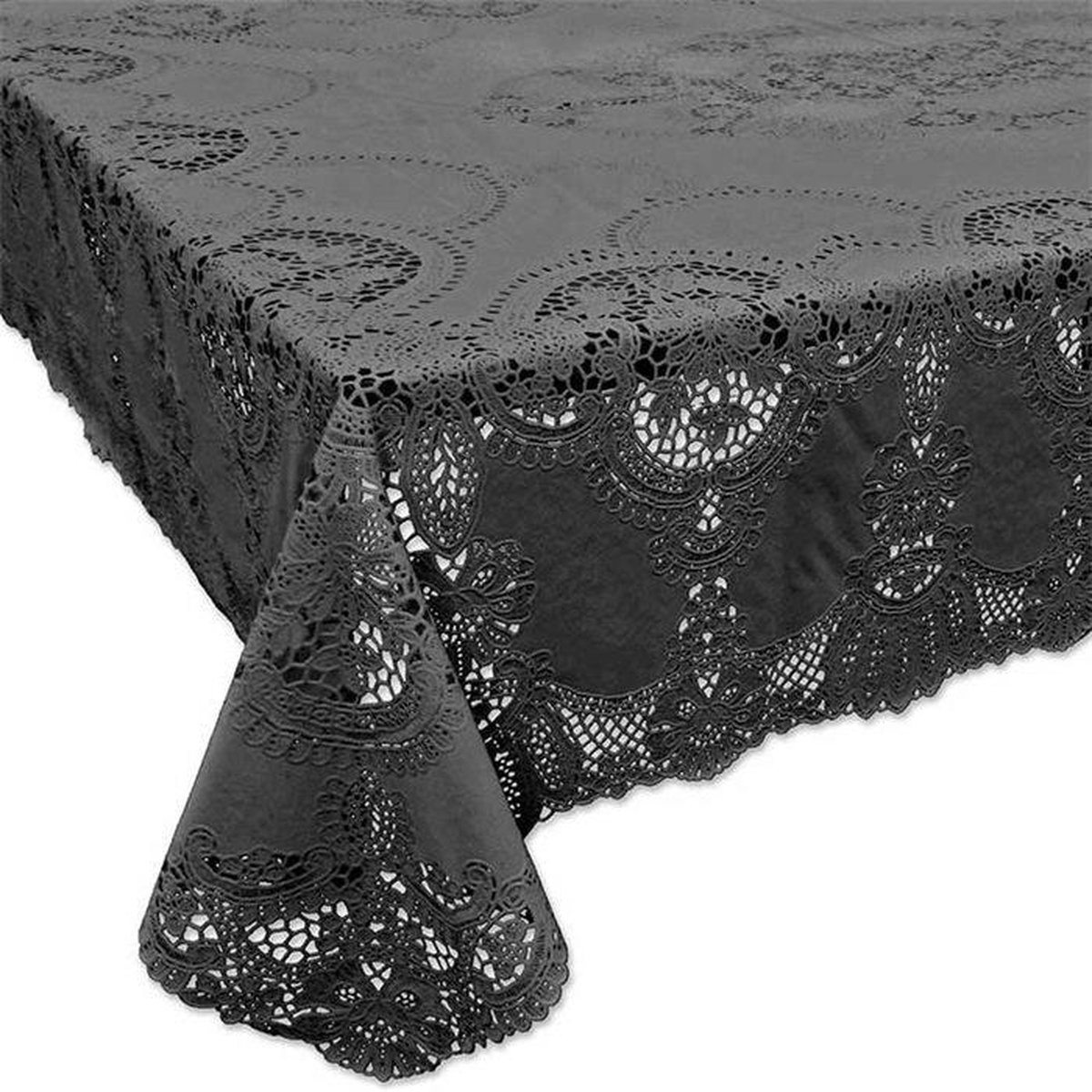 Terraskleden/Tafelkleden - Vinyl Lace 504 Dark Grey 135 x 180 cm