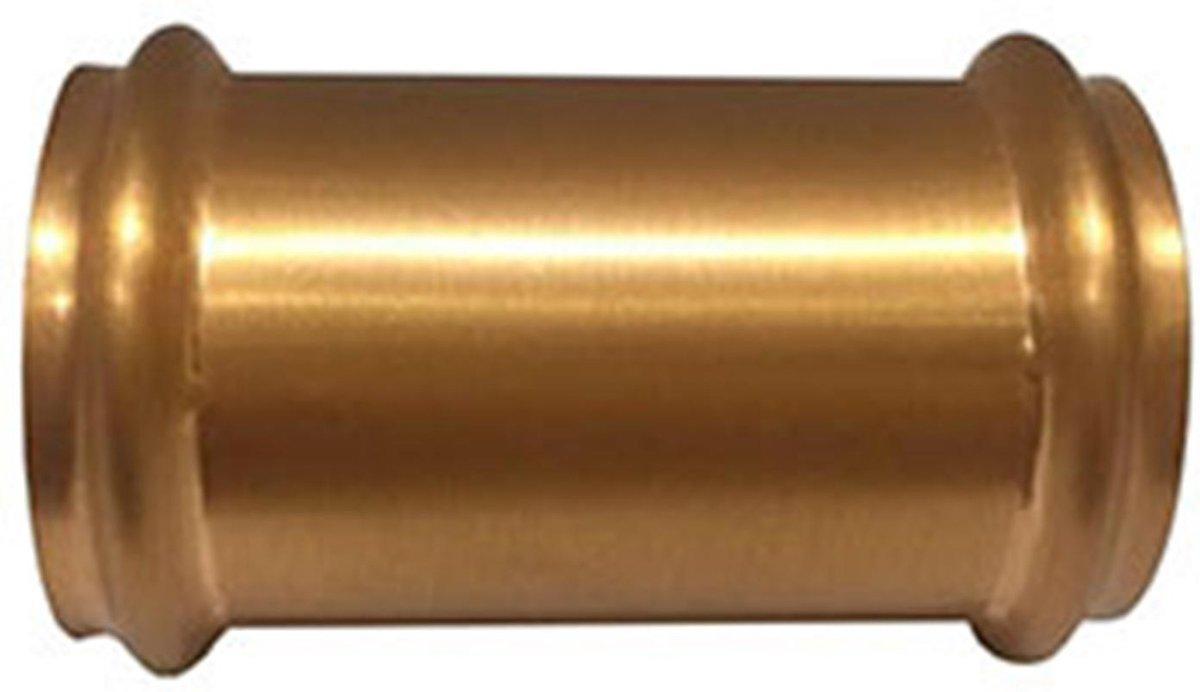 Wiesbaden koppelstuk 32mm tbv vloerbuis - Geborsteld Koper