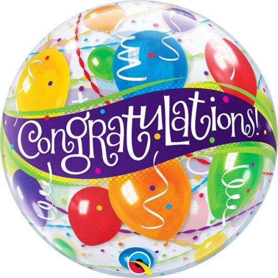 Folieballon - Congratulations - Bubble - 56cm - Zonder vulling
