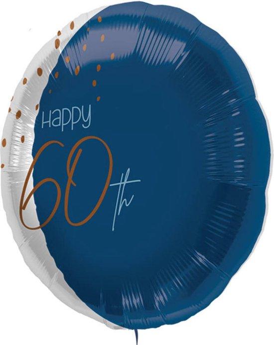Folieballon - 60 jaar - Luxe - Blauw, goud, transparant - 45cm - Zonder vulling