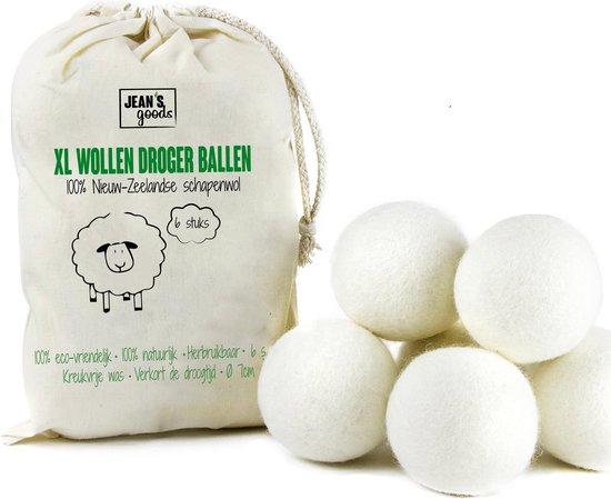 Jean's goods wasbol - drogerballen - 100% Natuurlijk - Nieuw-Zeelandse wol - Beige - 6 Stuks